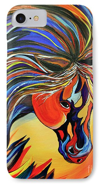 IPhone Case featuring the painting Flame Bold And Colorful War Horse by Janice Rae Pariza