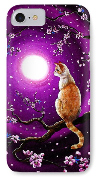 Flame Point Siamese Cat In Dancing Cherry Blossoms Phone Case by Laura Iverson
