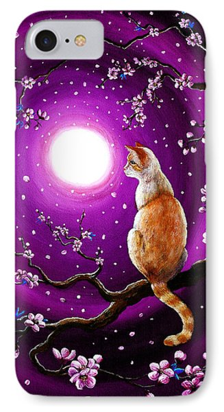 Flame Point Siamese Cat In Dancing Cherry Blossoms IPhone Case by Laura Iverson