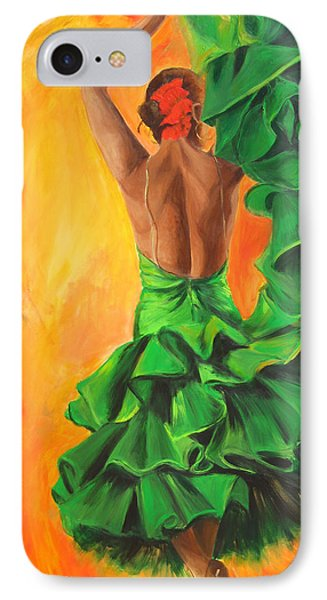 IPhone Case featuring the painting Flamenco Dancer In Green Dress by Sheri  Chakamian