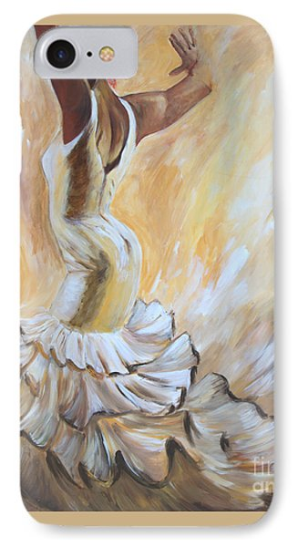IPhone Case featuring the painting Flamenco Dancer In White Dress by Sheri  Chakamian
