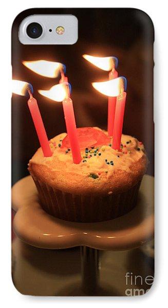 Flaming Birthday Cupcake Closeup Phone Case by Robert D  Brozek