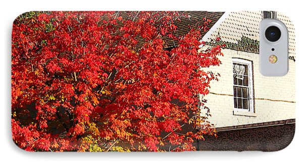 IPhone Case featuring the photograph Flaming Fall Colours On Farm House by Nina Silver