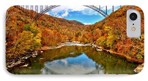 Flaming Fall Foliage At New River Gorge IPhone Case by Adam Jewell