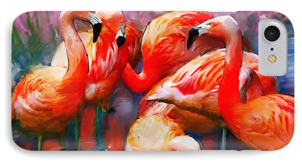 Flaming Flamingos IPhone Case by Ted Azriel