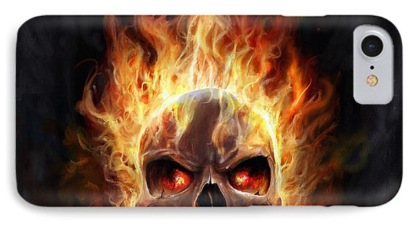 IPhone Case featuring the digital art Flaming Skull by Steve Goad