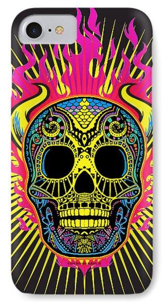 Flaming Skull IPhone Case by Tony Rubino