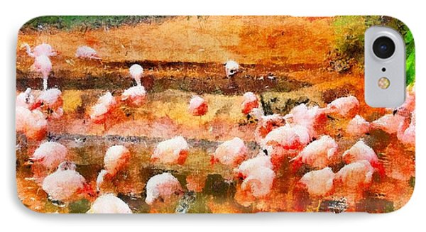 Flamingo Gathering IPhone Case by Dan Sproul