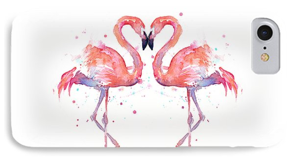 Animal iPhone 7 Case - Flamingo Love Watercolor by Olga Shvartsur