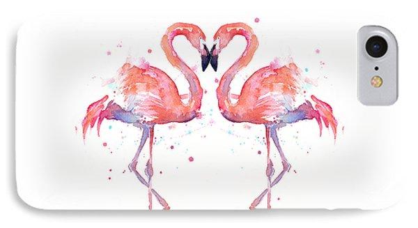 Flamingo Love Watercolor IPhone Case