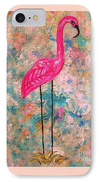 Flamingo On Pink And Blue Phone Case by Eloise Schneider