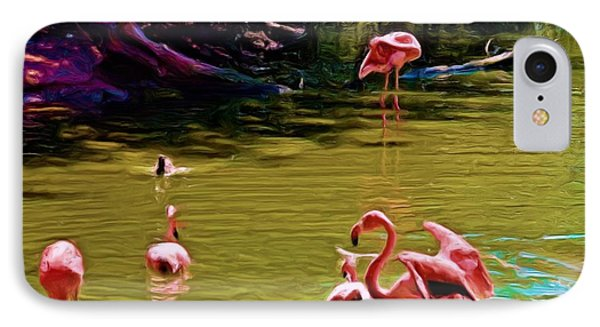 Flamingo Party IPhone Case by Luther Fine Art