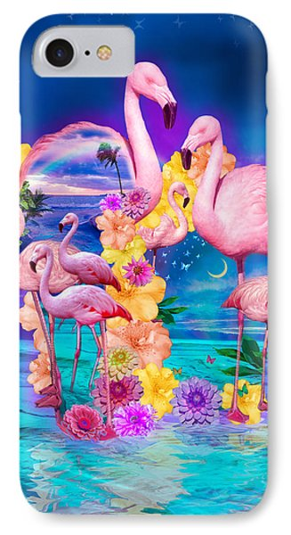 Flamingo Shape Wbackground IPhone Case by Alixandra Mullins