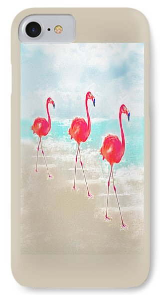 Flamingos On The Beach IPhone Case by Jane Schnetlage
