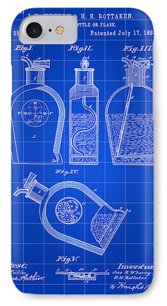 Flask Patent 1888 - Blue IPhone Case by Stephen Younts