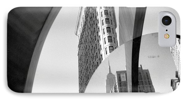 IPhone 7 Case featuring the photograph Flat Iron Building Empire State Mirror by Dave Beckerman