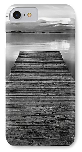 Flathead Lake Dock Sunset - Black And White Phone Case by Brian Stamm