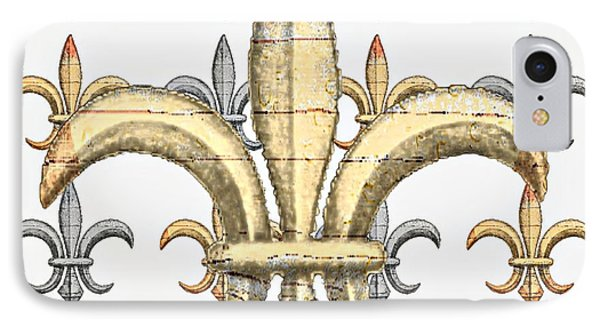 Fleur De Lys Silver And Gold IPhone Case by Barbara Chichester