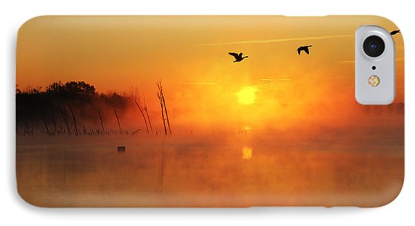 Flight At Sunrise IPhone Case by Roger Becker