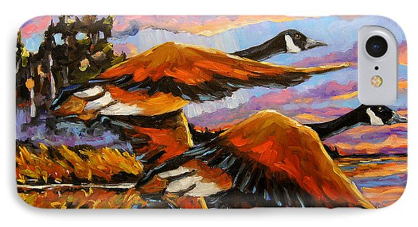 Flight Navigations Geese In  Motion IPhone Case by Richard T Pranke