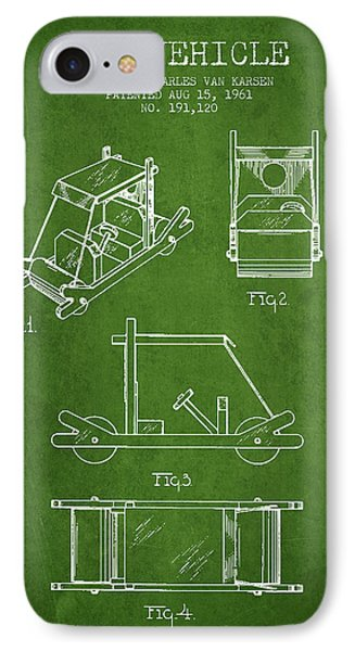 Flintstones Toy Vehicle Patent From 1961 - Green IPhone Case