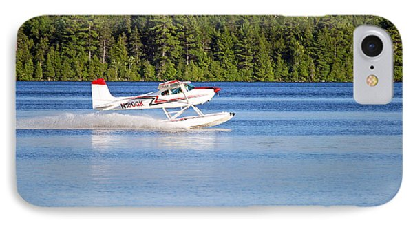 IPhone Case featuring the photograph Float Plane Landing On The Lake by Barbara West