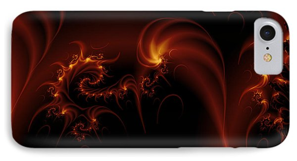 Floating Fire Fractal IPhone Case by Fran Riley