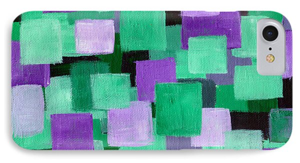 Floating Green And Purple Squares Phone Case by Art by Kar