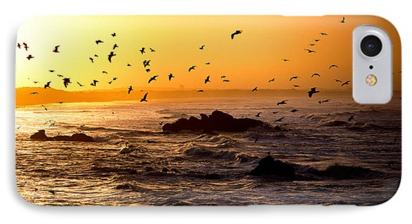 Flock Of Seagulls Fishing In Waves IPhone Case