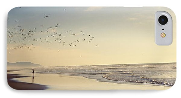Flock Of Seagulls Flying Above A Woman IPhone Case