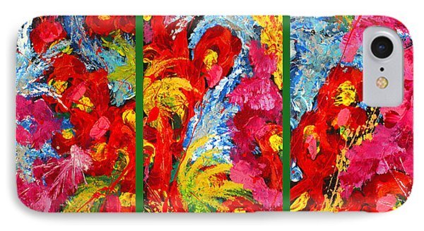 Floral Abstract Triptych On Green Background Phone Case by Julia Fine Art And Photography