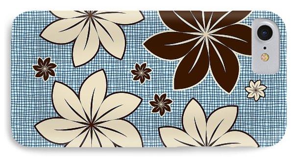 Floral Design On Blue Phone Case by Gaspar Avila