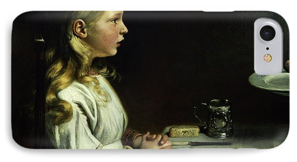 Florence Cope Saying Grace At Dinnertime IPhone Case by Charles West Cope