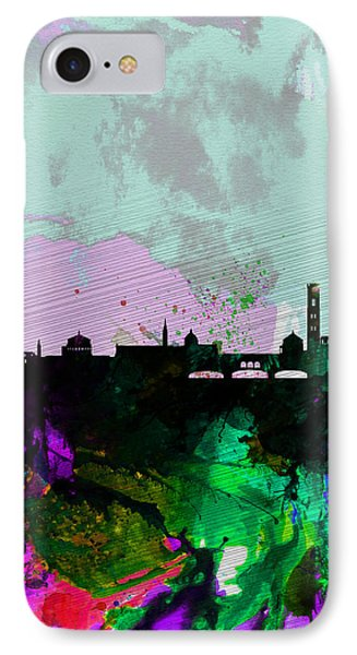 Florence Watercolor Skyline IPhone Case by Naxart Studio