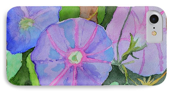 IPhone Case featuring the painting Florence's Morning Glories by Beverley Harper Tinsley