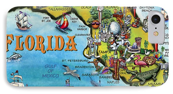 IPhone Case featuring the digital art Florida Cartoon Map by Kevin Middleton