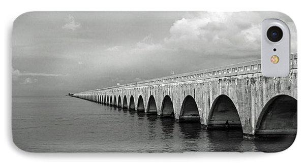 Florida Keys Seven Mile Bridge Black And White IPhone Case by Photographic Arts And Design Studio