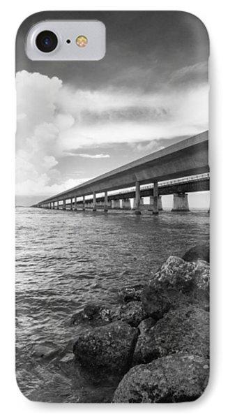 Florida Keys Seven Mile Bridge South Bw Vertical IPhone Case