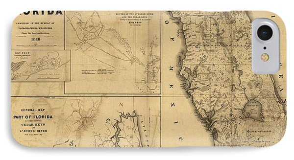 Florida Map Art - Vintage Antique Map Of Florida IPhone Case by World Art Prints And Designs