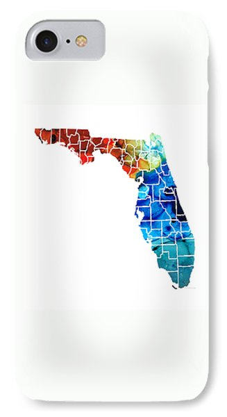 Florida - Map By Counties Sharon Cummings Art IPhone 7 Case by Sharon Cummings