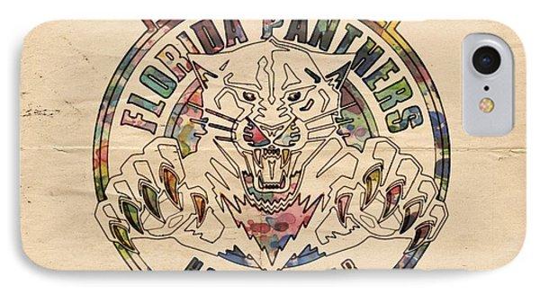 Florida Panthers Vintage Art IPhone Case by Florian Rodarte