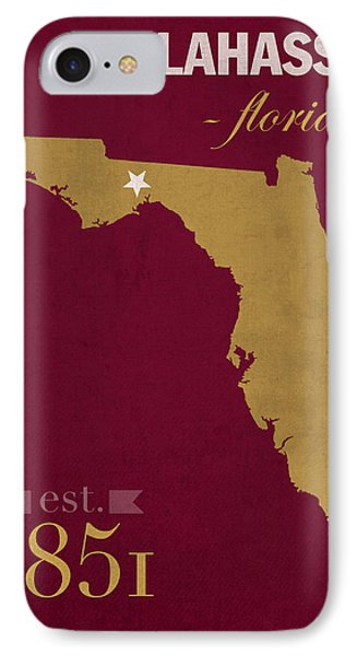 Florida State University Seminoles Tallahassee Florida Town State Map Poster Series No 039 IPhone Case by Design Turnpike