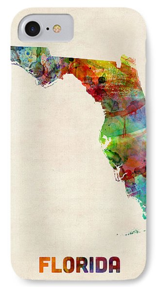 Florida Watercolor Map IPhone 7 Case by Michael Tompsett