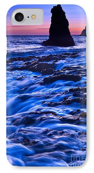 Flow - Dramatic Sunset View Of A Sea Stack In Davenport Beach Santa Cruz. Phone Case by Jamie Pham