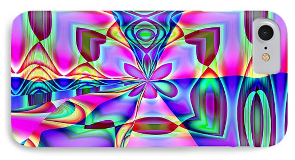 Flower And Hearts Modern Abstract Art Design IPhone Case by Annie Zeno