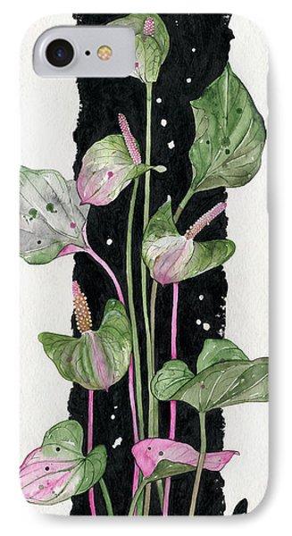 IPhone Case featuring the painting Flower Anthurium 02 Elena Yakubovich by Elena Yakubovich