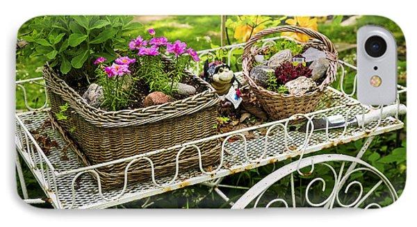 Garden iPhone 7 Case - Flower Cart In Garden by Elena Elisseeva