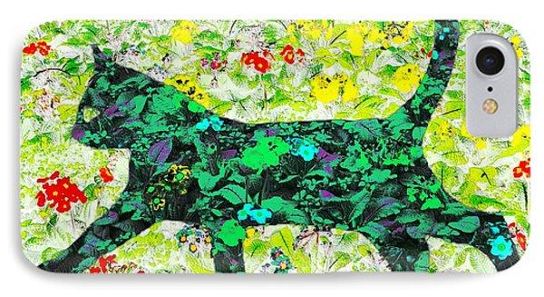 Flower Cat IPhone Case by Barbara Moignard
