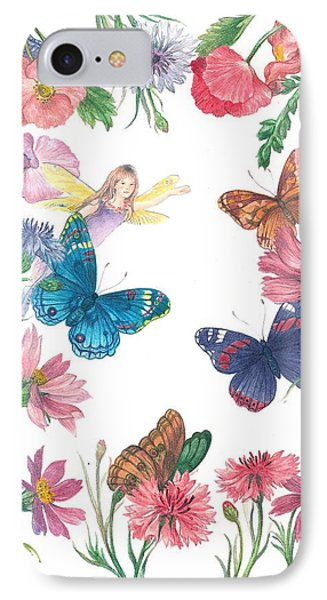 Flower Fairy Illustrated Butterfly IPhone Case by Judith Cheng