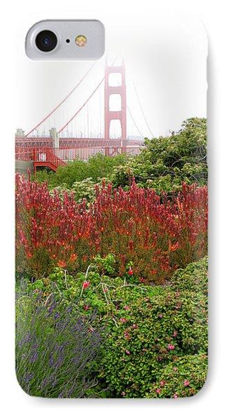 Flower Garden At The Golden Gate Bridge IPhone Case by Connie Fox